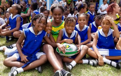 Team Jamaica introduce over 300 kids to the game of rugby in Barbados