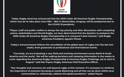 Under-20 Americas Rugby Championship Postponed